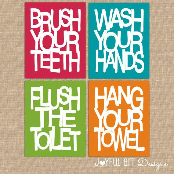 kids bathroom wall art bathroom rules printables brush wash flush rh pinterest com