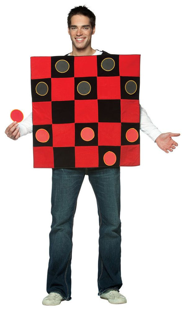 CHECKERS BOARD checkerboard Funny game adult mens womens halloween - cool halloween costume ideas for guys