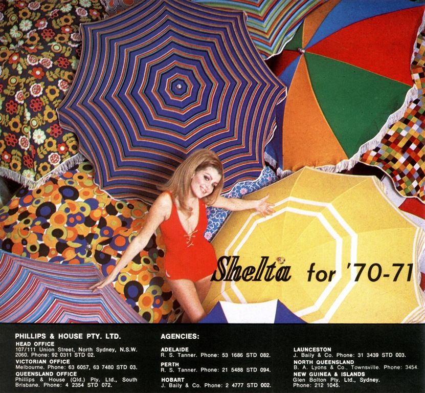 Shelta Australia poster, 1970 Beach umbrella