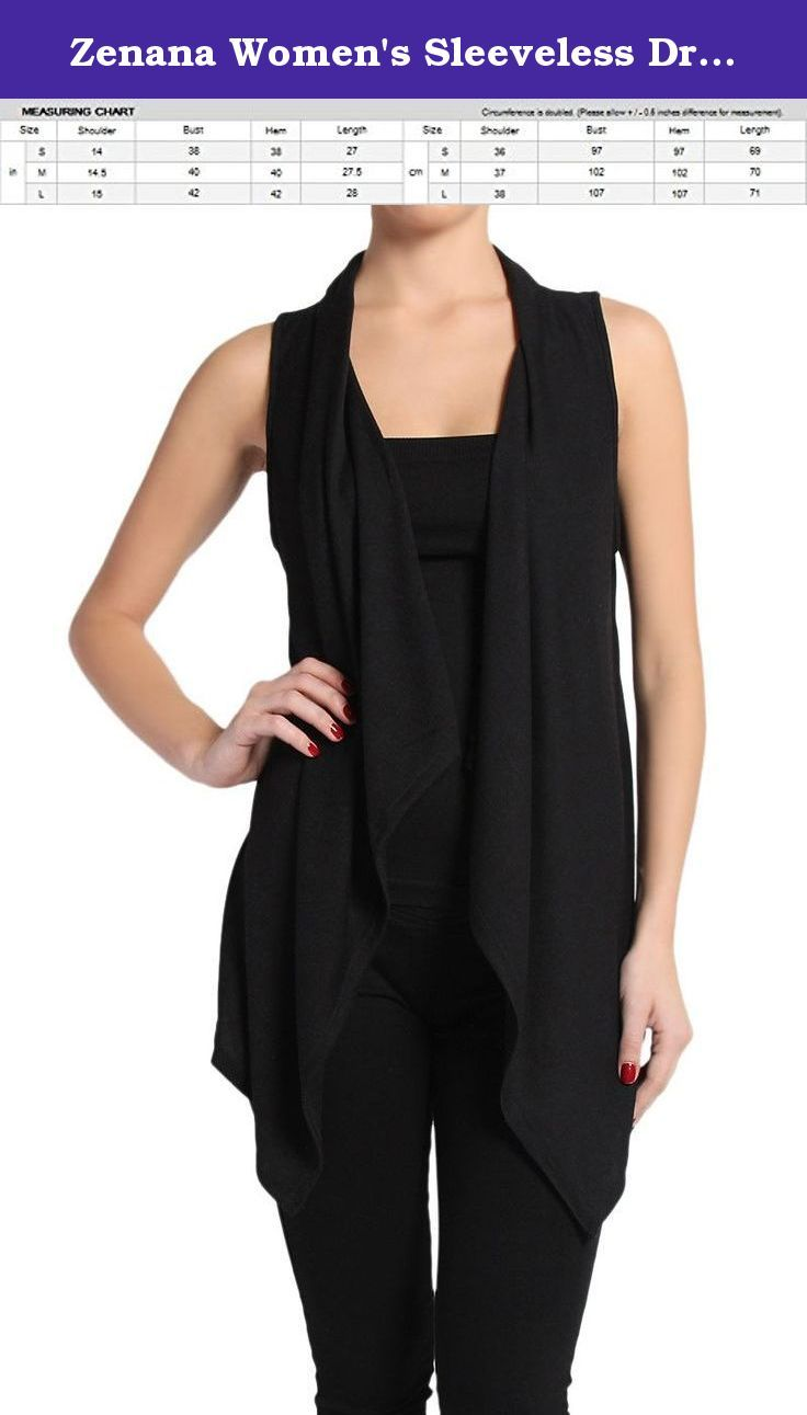 Zenana Women's Sleeveless Draped Sweater Open Cardigan. Black ...