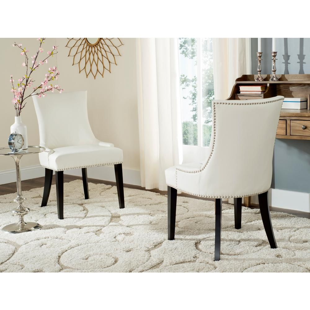 Safavieh Lester White Leather Espresso 19 In H Dining Chair Set