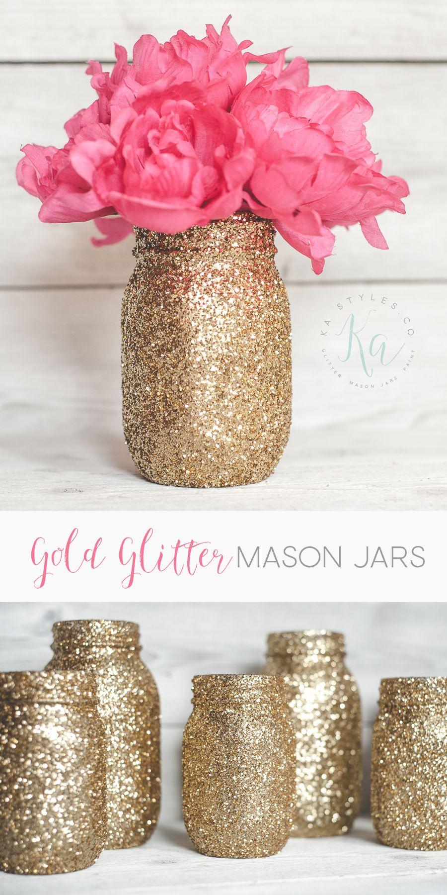 Gold Glitter Mason Jars #masonjardiy