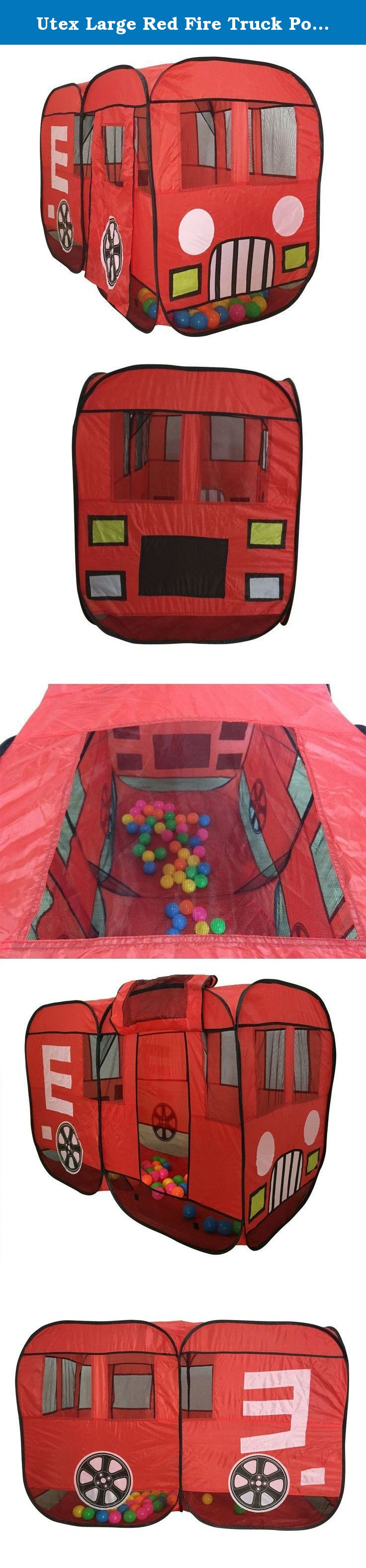 Utex Large Red Fire Truck Pop-Up Play Tent - Fire Engine with Side Door Entrance for Boys or Girls for Indoor or Outdoor Use. This Exciting Fire Truck Play ... & Utex Large Red Fire Truck Pop-Up Play Tent - Fire Engine with Side ...