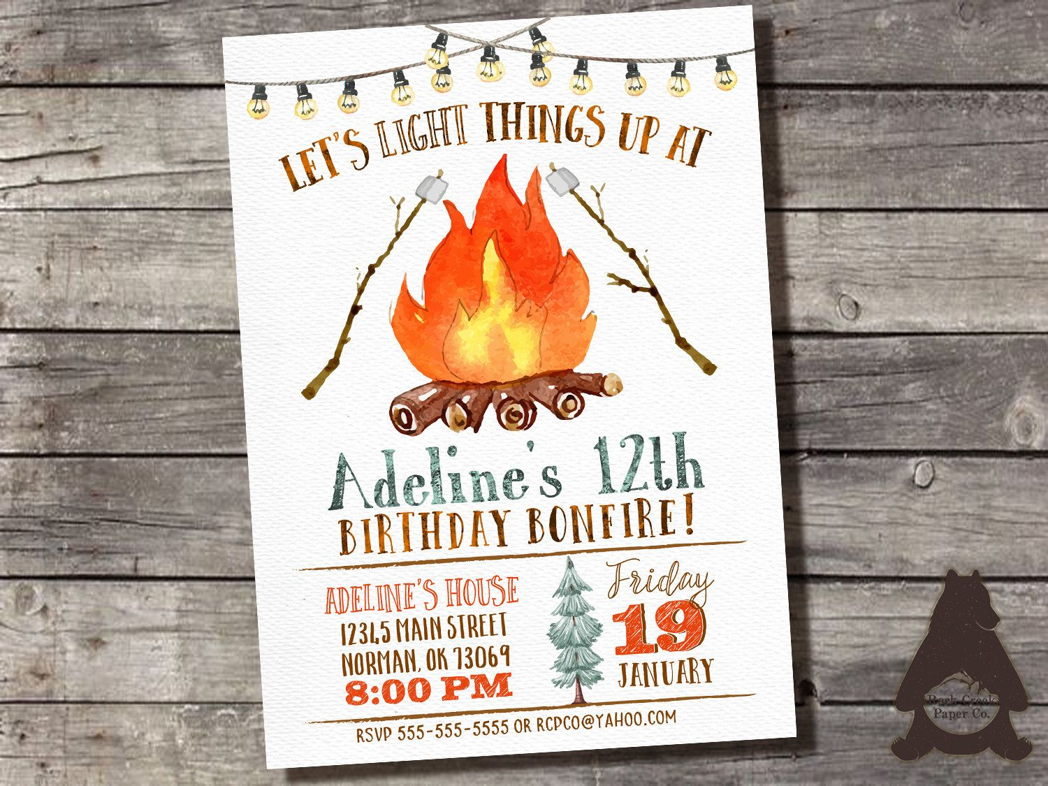Bonfire Birthday Invitation, Watercolor Bonfire Invitation ...