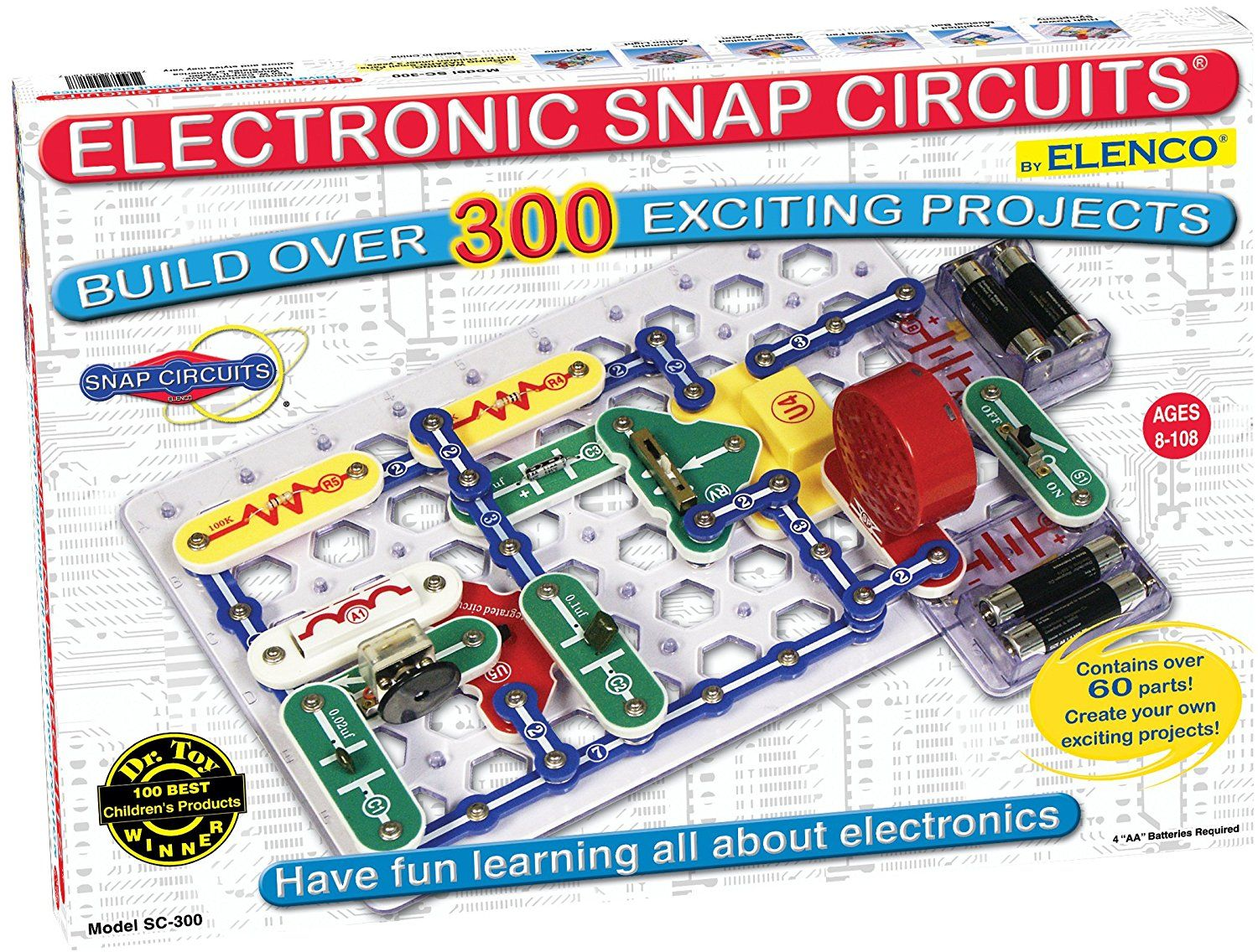 amazoncom snap circuits sc 300 electronics discovery kit toys