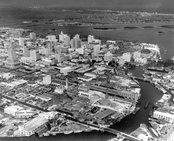 aerial view of the miami river in 1947.   aerial view