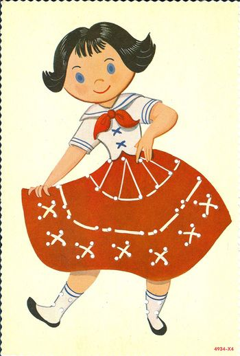 Vintage paper dolls and sewing cards #distractions I remember having a sewing card just like this.