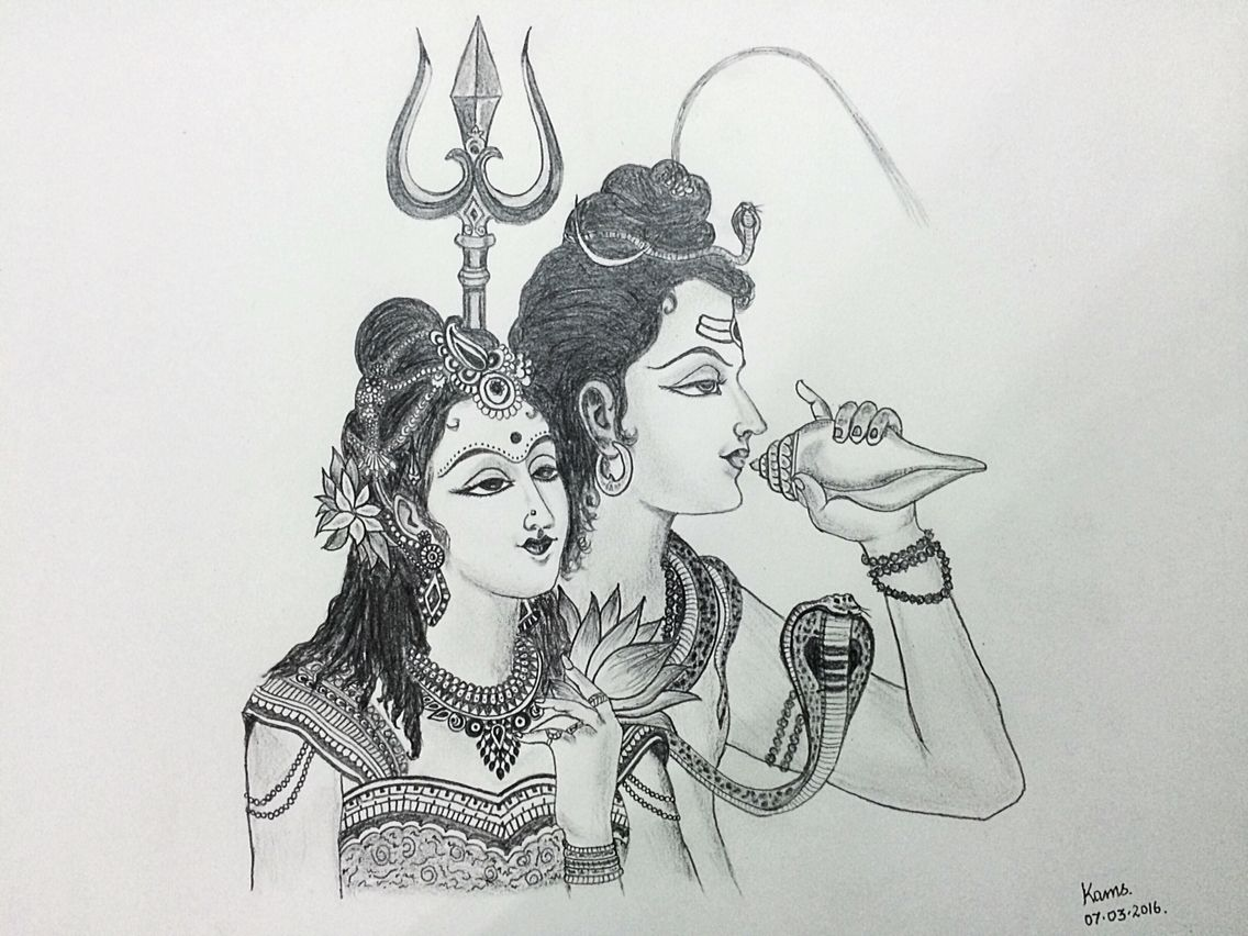 Pencil sketch of sivan parvathi