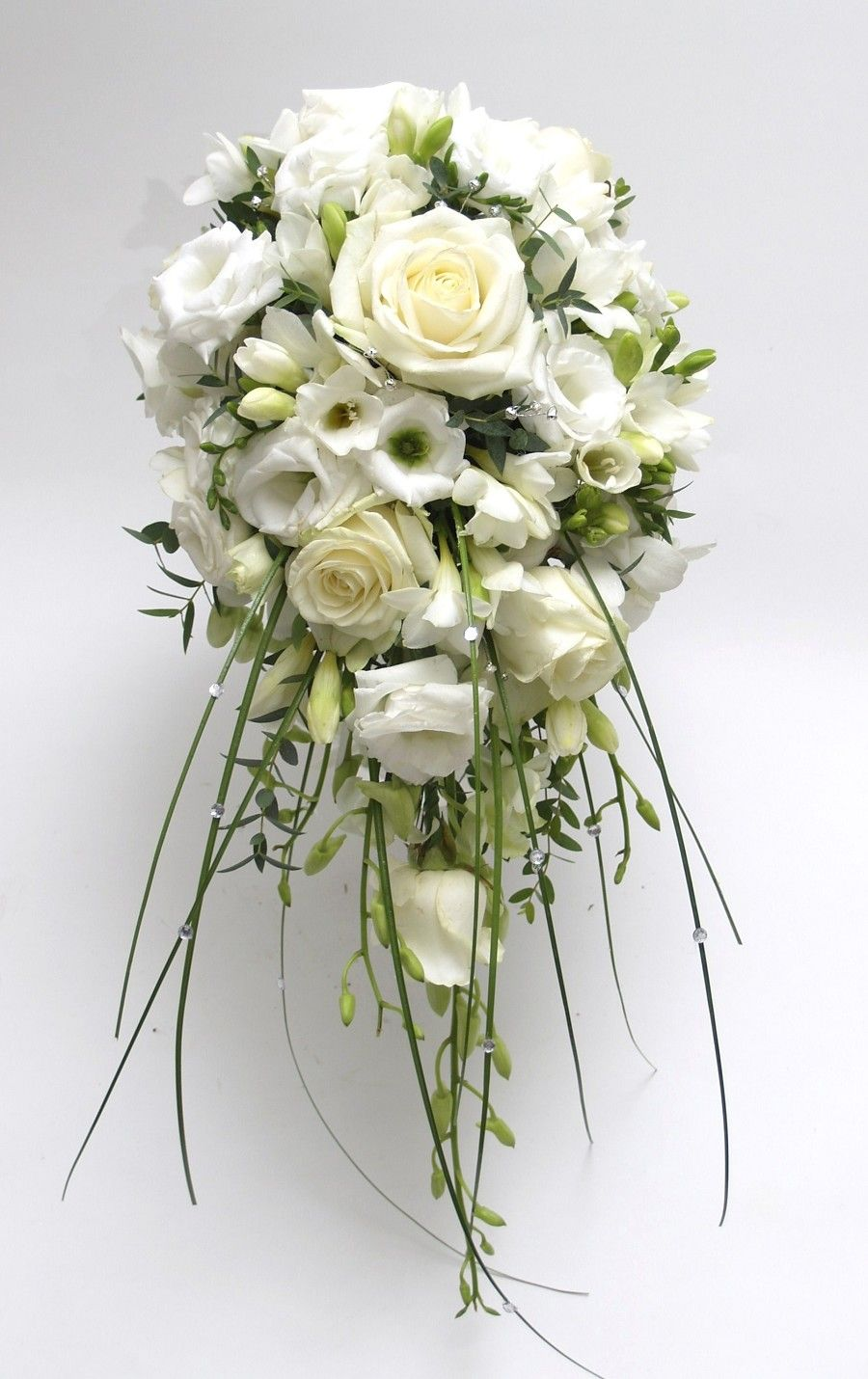 Shower Bouquet Of Roses Lisianthus Freesia Classic Wedding
