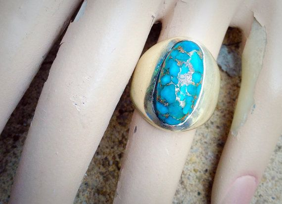 Sterling Silver Turquoise with Silver Flecks Ring by WilburVintage