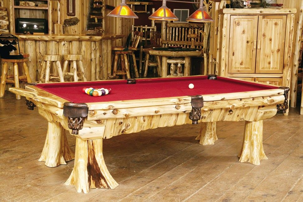 Superb Cedar Log Pool Table Rustic Game Room Cabin Decor Download Free Architecture Designs Licukmadebymaigaardcom