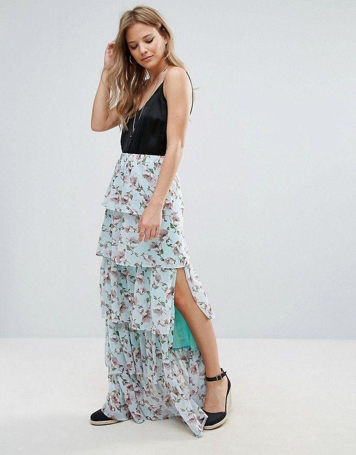 b0d167f8240c0 Boohoo Floral Print Tiered Ruffle Maxi Skirt | Skirts | Pinterest ...