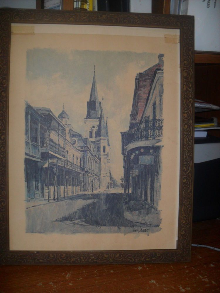 Vintage 1968 DON DAVEY PRINT New Orleans Lousiana Street Scene