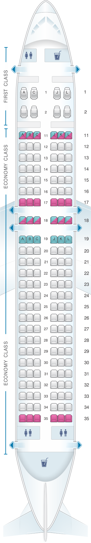Seat Map Air China Airbus A320 200 Spirit Airlines China Eastern Airlines Kingfisher Airlines
