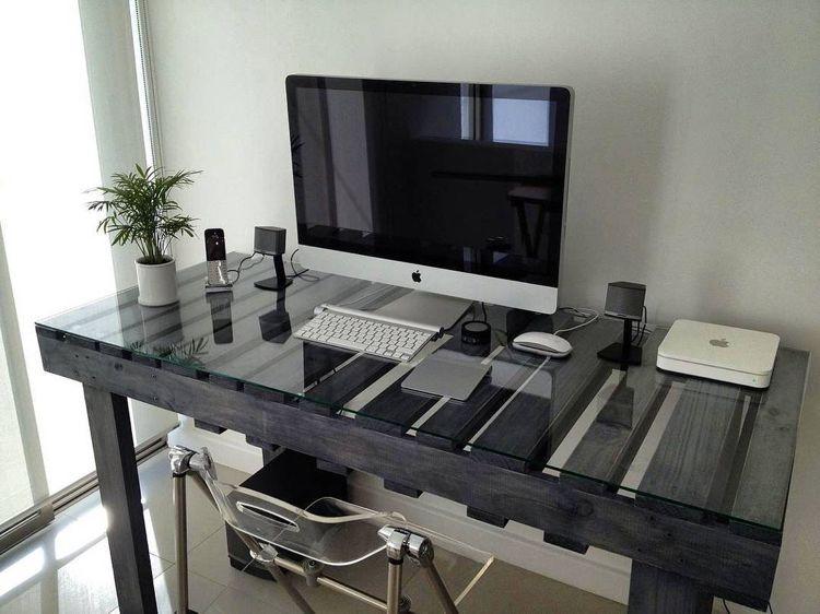 Schreibtisch Lackieren schwarz lackierter paletten schreibtisch kreativ