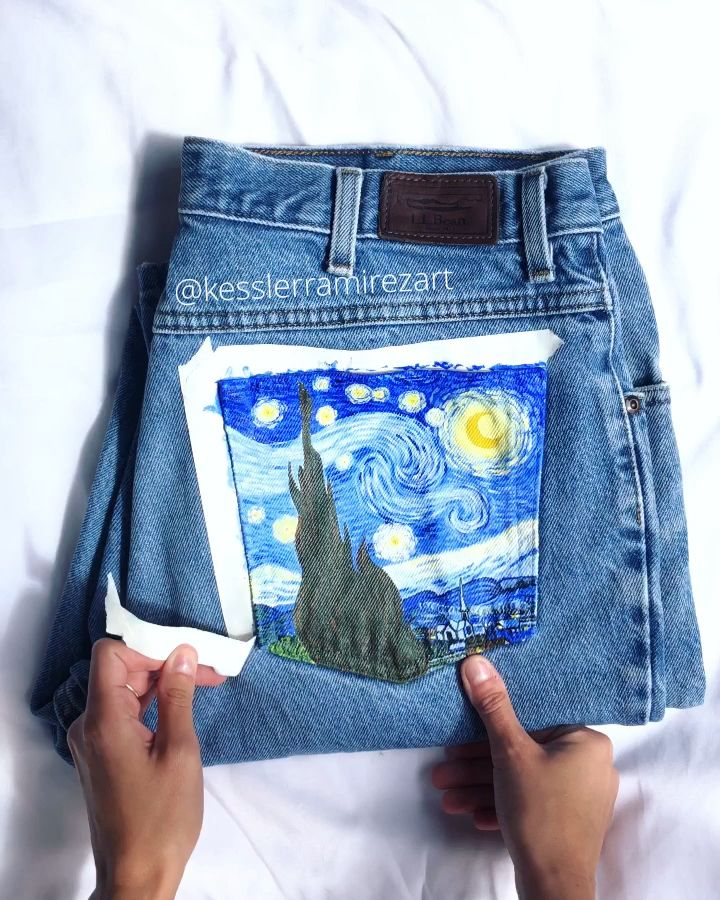 The Starry Night painted jeans tape peel by Kessler Ramirez Art