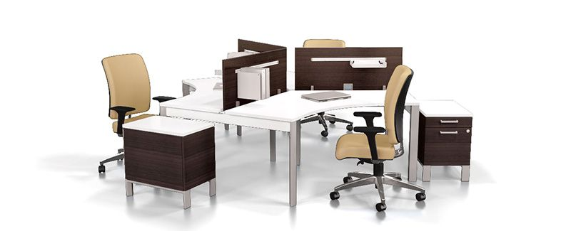 Global Bridges Ii 3 Person Workstation Quality Office Furniture