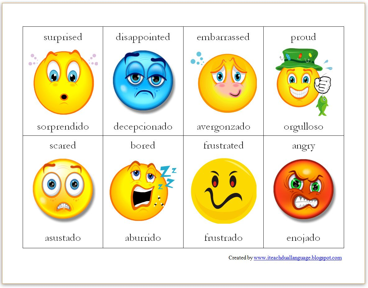 Bilingual Emotion Cards | School ideas | Pinterest | Emoticon ...