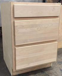 Kitchen Drawer Base Cabinet Unfinished Alder 24 Unfinished