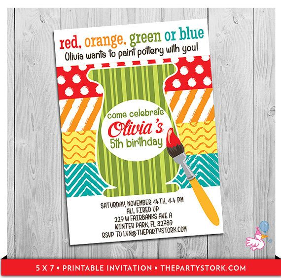 Pottery invitations printable girls pottery painting birthday party invitation custom girl for Paint party invitations free