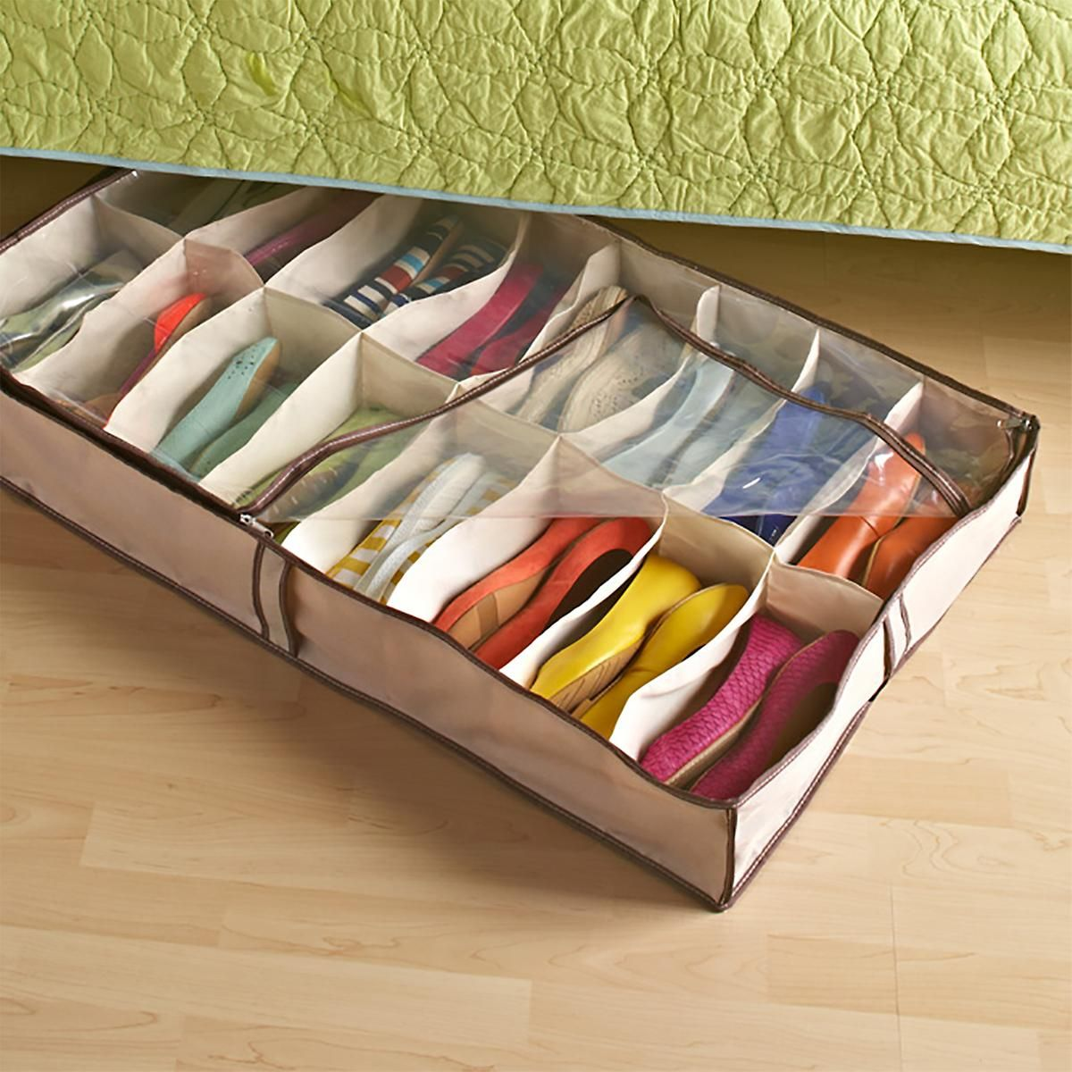Under Bed Shoe Storage Tweed 16 Pair Underbed Organizer The Container