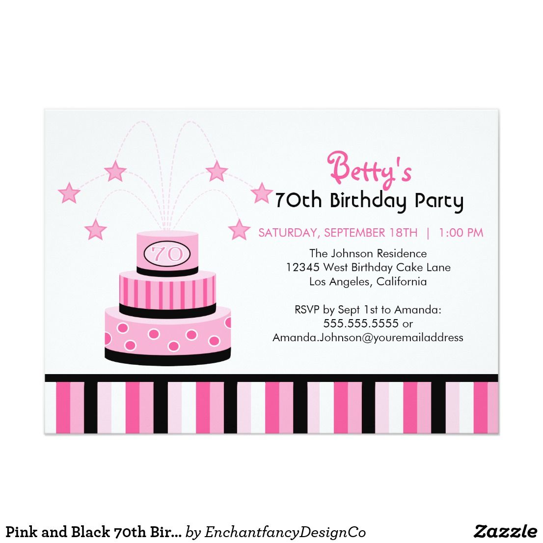 Pink and Black 70th Birthday Cake Party Invitation | 70th birthday ...