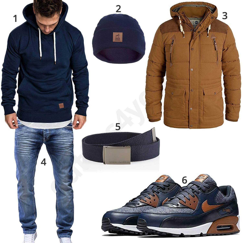 Blaues Herren Winteroutfit mit Nike Air Max Schuhen (m0826
