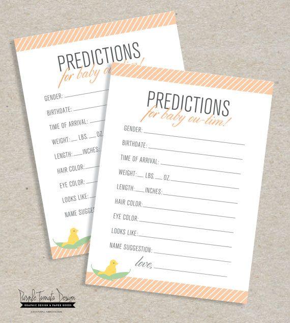 Custom Baby Prediction Card Printable Personalized Baby Shower Game Custom Baby Shower Gender Prediction Game Baby Prediction Cards Baby Prediction Custom Baby Shower