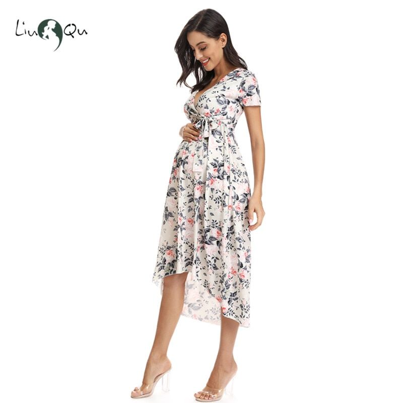 Womens Pregnancy Maternity Midi Wrap Dress Summer Casual Nursing Breastfeeding