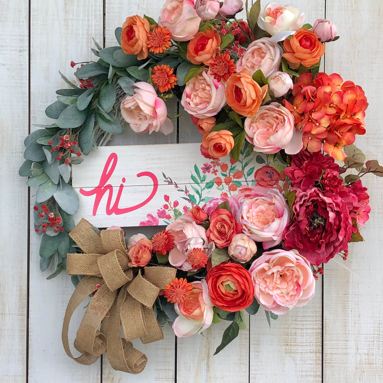All Season Peony Hydrangea Spring Or Summer Wreath Everyday Etsy Silk Flower Wreaths Summer Wreath Everyday Wreath