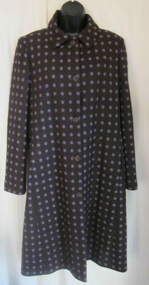 BODEN Women's Shabby Chic Brown Purple Polka Dot 100% Wool Lined Coat Size 16 #Boden #BasicCoat