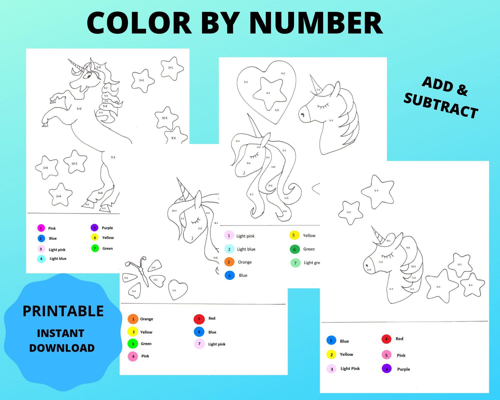 Printable Unicorn Color By Number Math Worksheet Kids