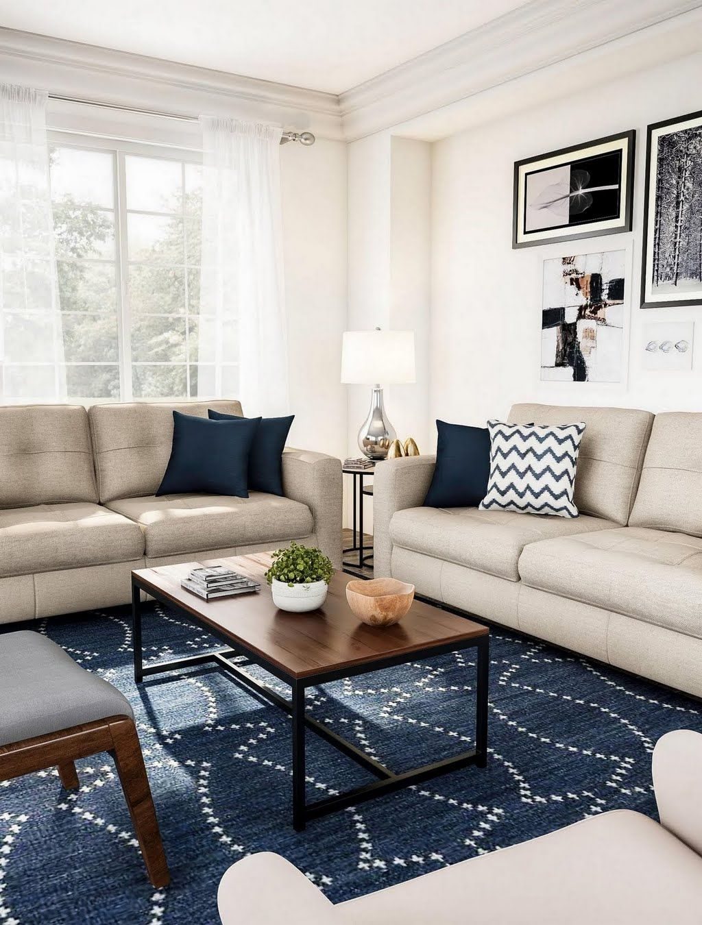Classic Living Room In Shades Of Tan Living Room The Home Depot Tan Couch Living Room Tan Living Room Navy Rug Living Room