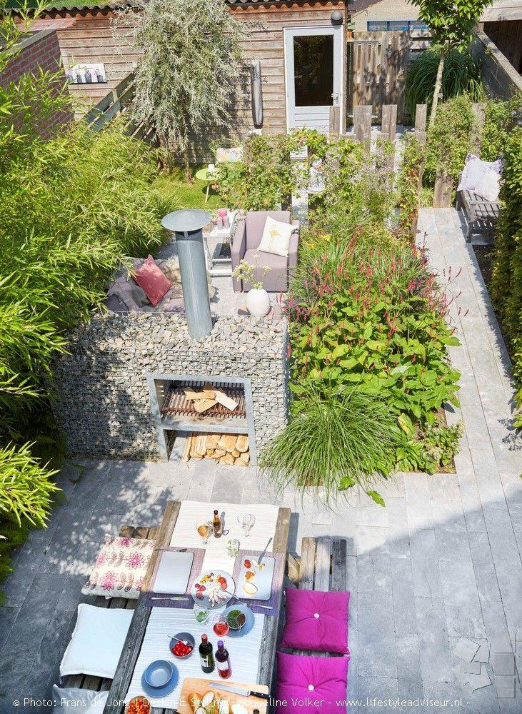 Terrasse, Terrassengestaltung, Stein, Feuerstelle, Grill, Naturstein,  Begrünung