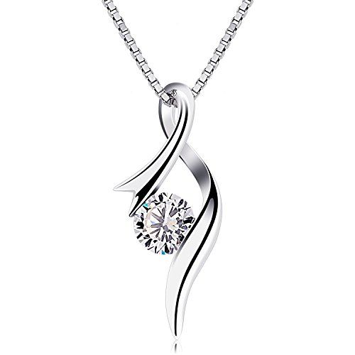 Miore 925 Sterling Silver Twisted Necklace with Zirconia Pendant on 45cm Snake Chain for Women WGHIj