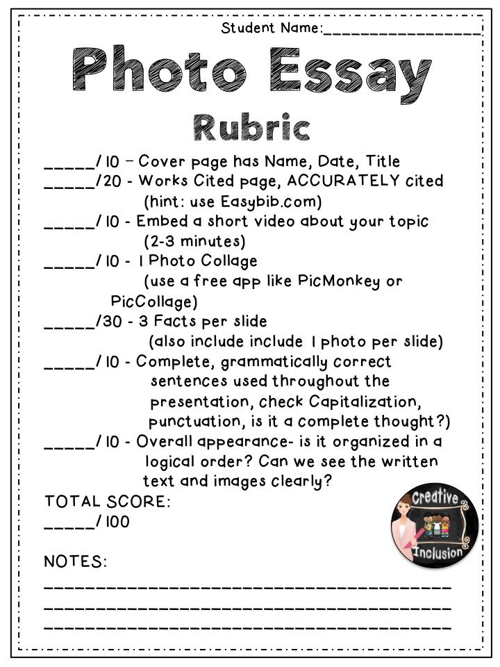 Free Photo Essay Rubric For Multimedia Writing  Free Lessons  Free Photo Essay Rubric For Multimedia Writing