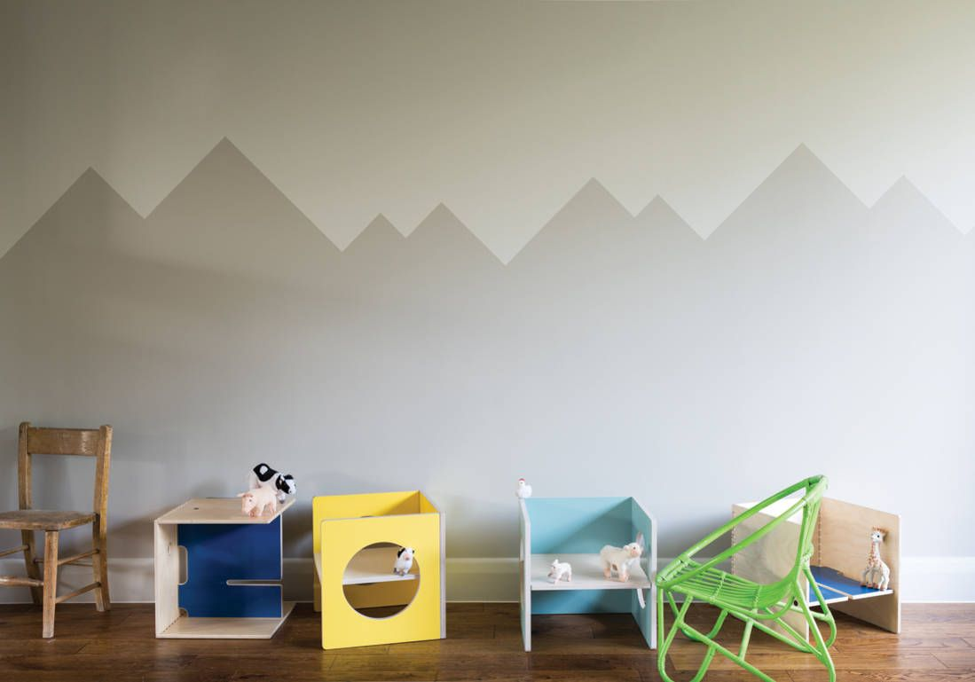 Peindre Un Mur En Deux Couleurs Dynamisez Vos Espaces Grace A Un Mur Bicolore Elle Decoration Peindre Mur Peinture Chambre Enfant Decoration Maison