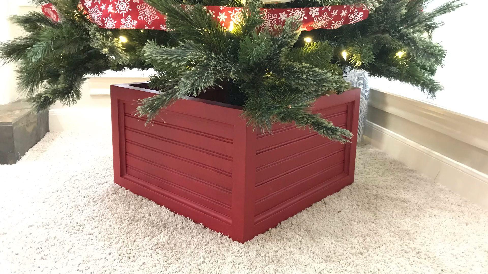 Diy Christmas Tree Box Stand And Ornament Storage Abbotts At Home Video Video Christmas Tree Box Stand Christmas Tree Box Diy Christmas Tree