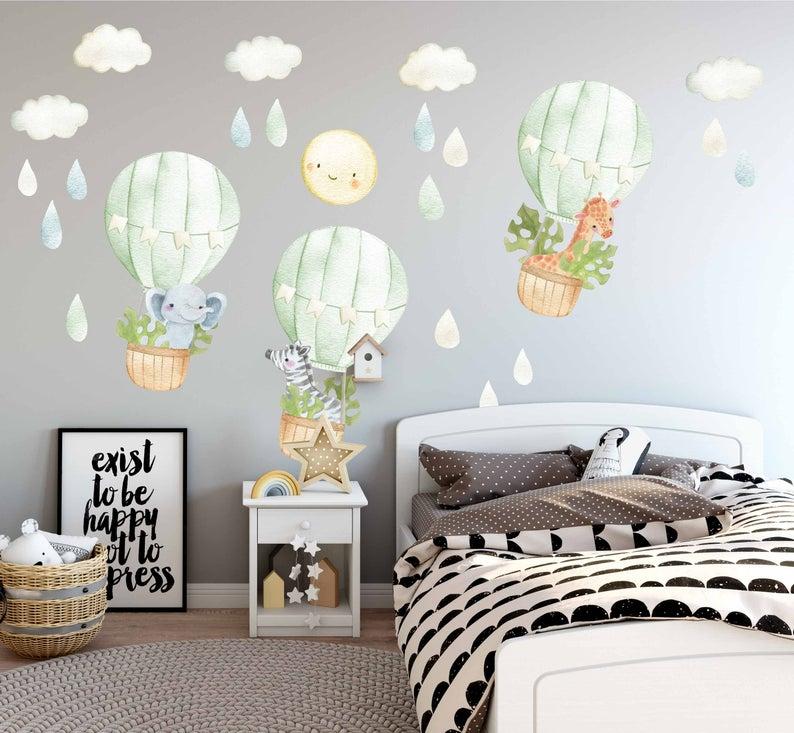 Balloon Watercolor Nursery Decals Art Nursery Wall Decals Hot