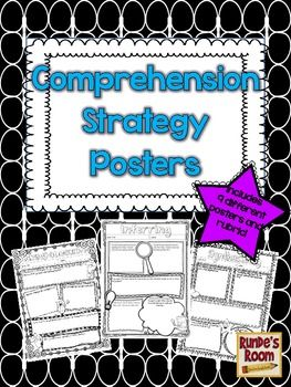 Comprehension Strategy Posters for Fiction Books - 9 different posters for student projects plus assessment rubric $