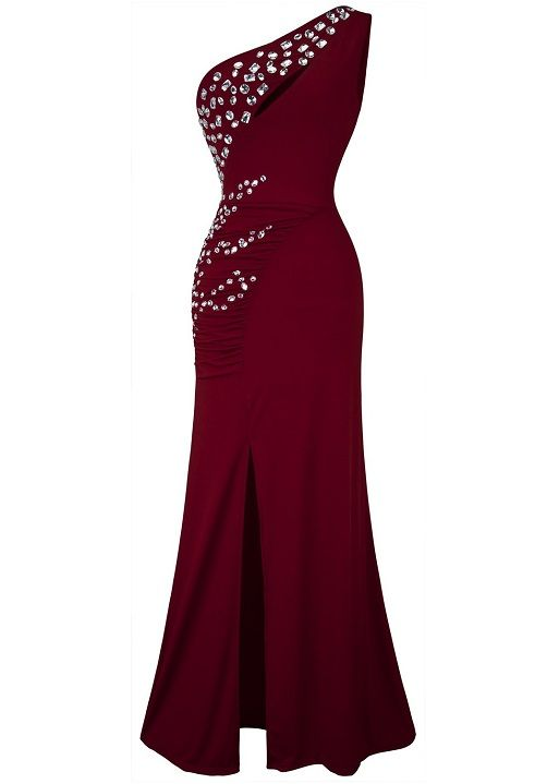 be6af87d8f Lovely beaded one shoulder 2017 under  50 dollar maroon formal prom  homecoming cheap dress