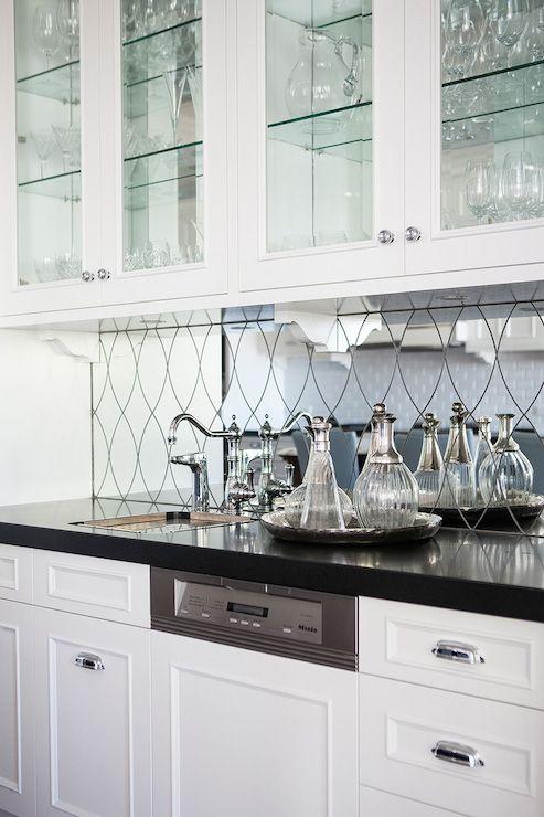 Mirrored Wet Bar Backsplash Transitional Kitchen Highgate House