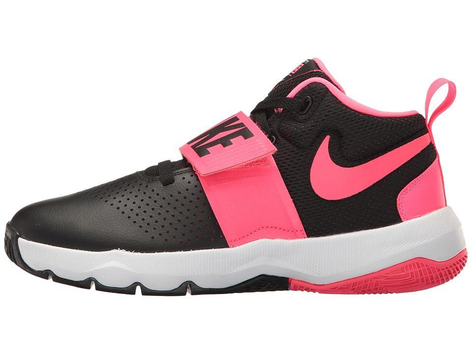 9b2197e7ea3 Nike Kids Team Hustle D8 (Big Kid) Girls Shoes Black Racer Pink White
