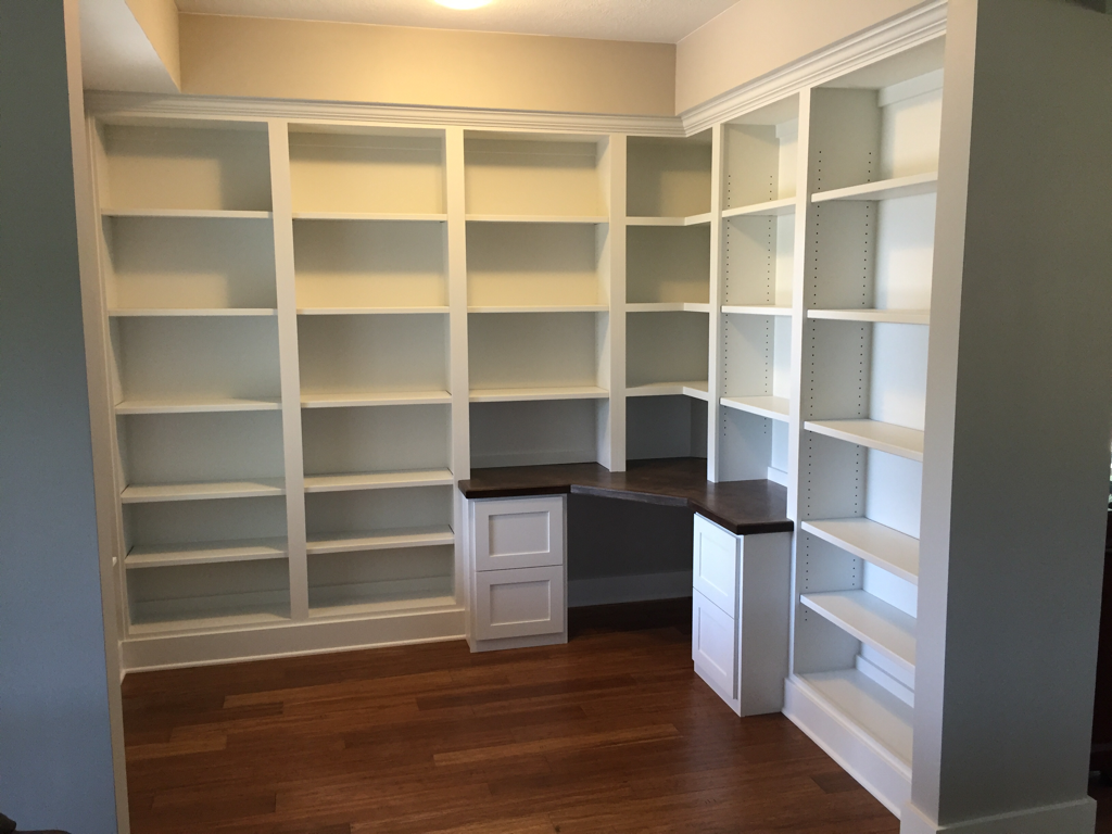 custom office built in with corner desk with dark stained maple rh pinterest co uk