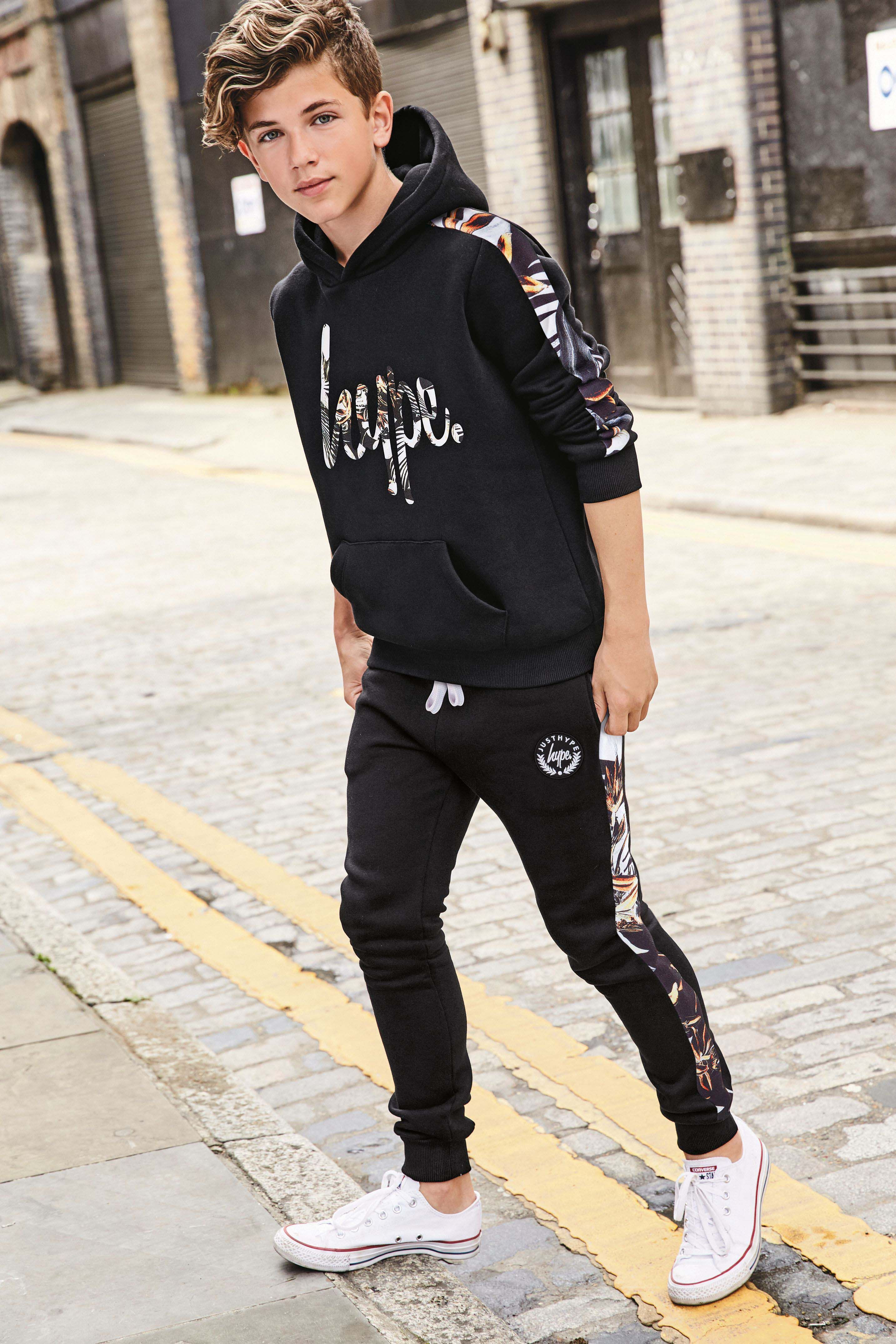 Boys Hype Printed Panel Jogger Black Teenage Boy Fashion Boy Clothes Youth Tween Outfits