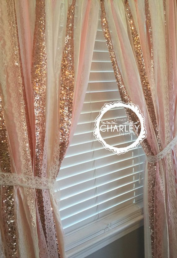 Rose Gold Sparkle Sequin Garland Curtain With Lace By OhMYcharley
