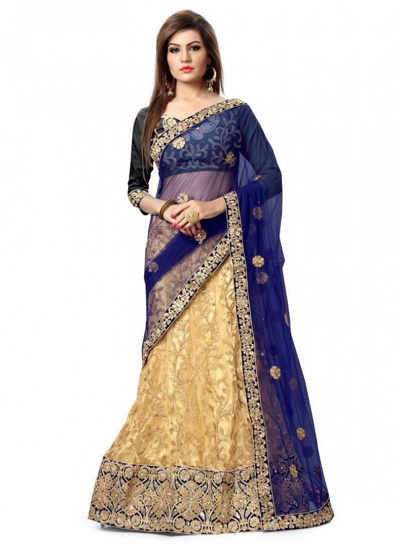 Cream and Blue Patch Border Net Party Wear Lehenga Choli