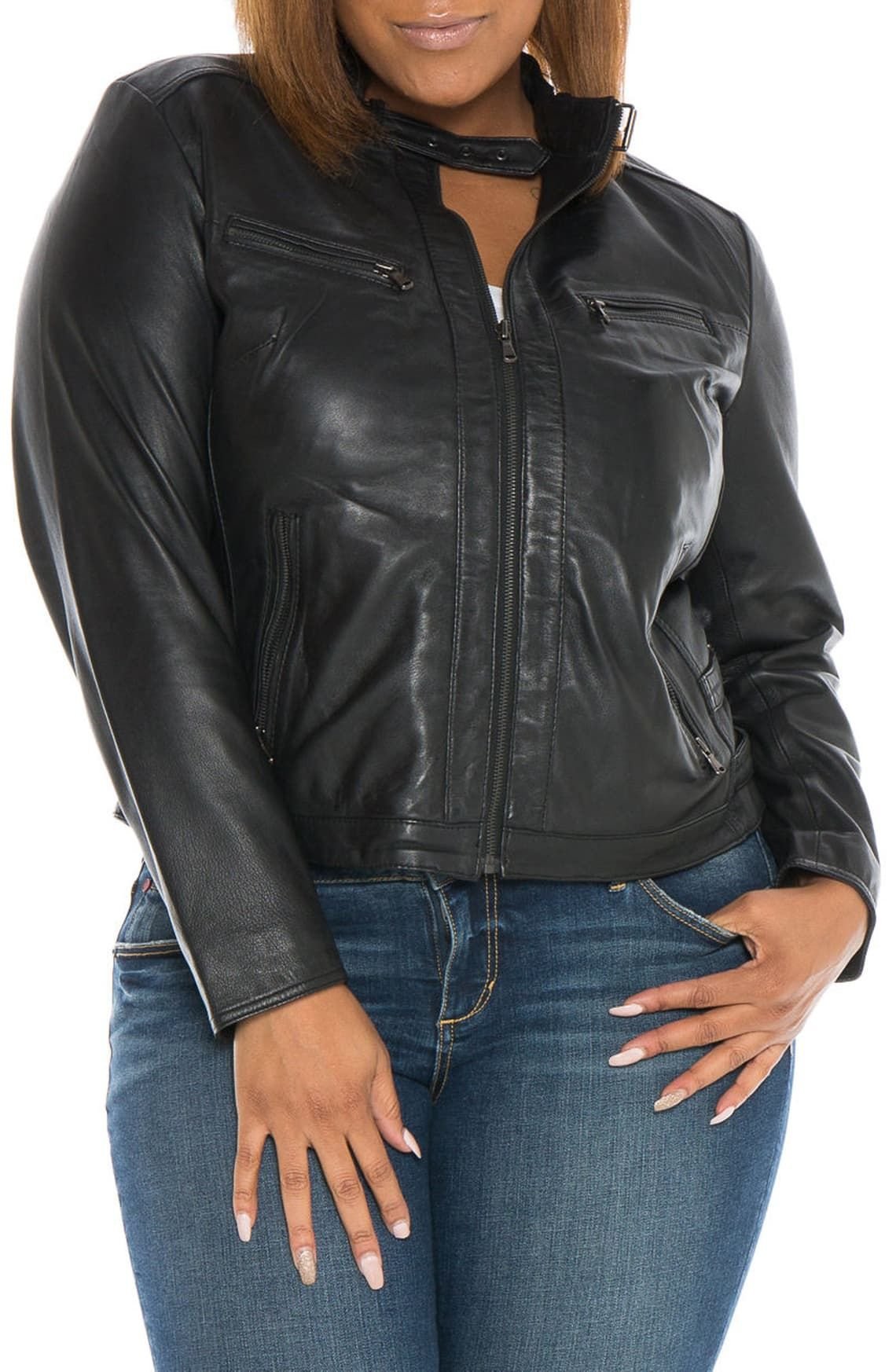 SLINK Jeans Fitted Leather Moto Jacket (Plus Size