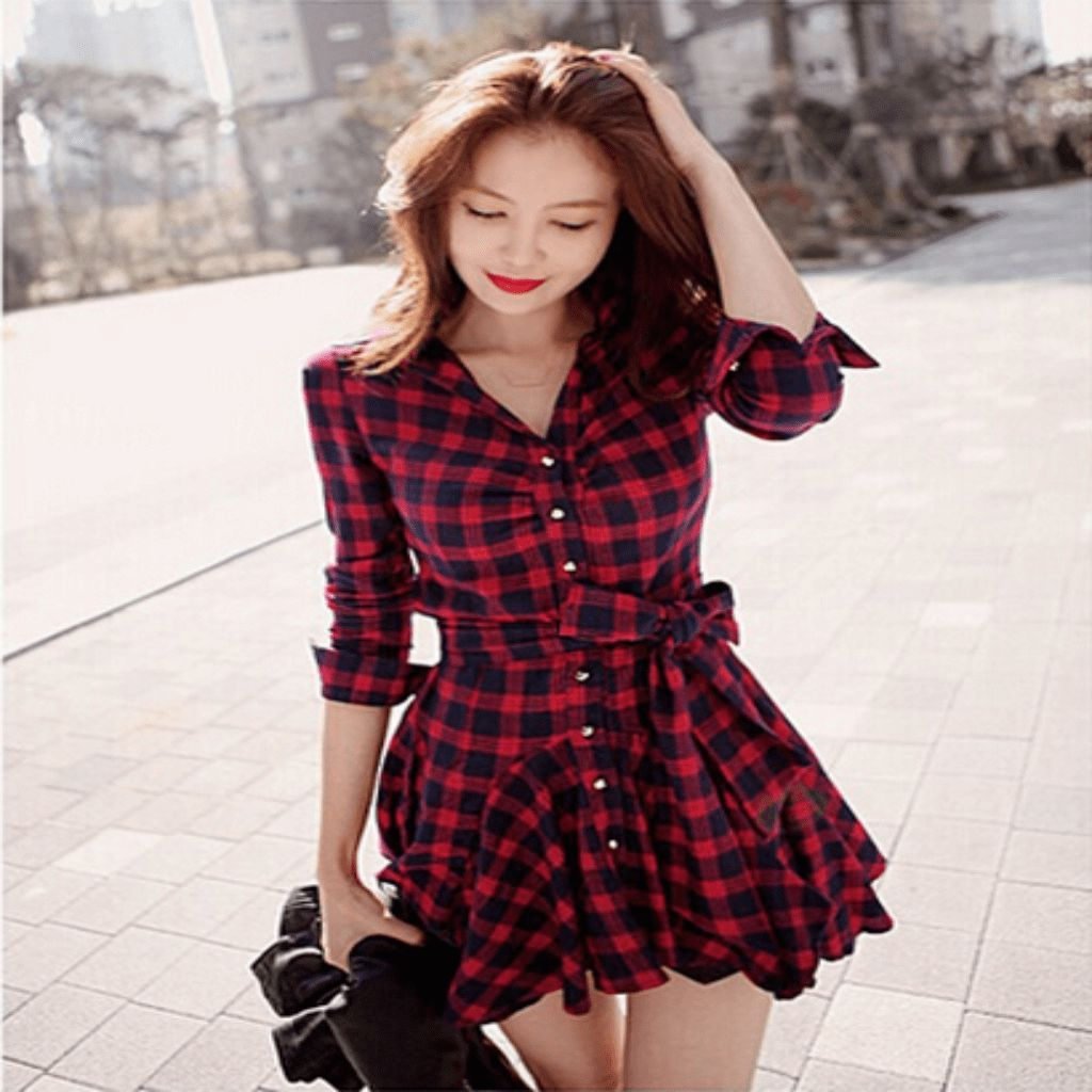 Flannel dress for women  Sexy Checkered Ball Gown Mini Dress With Belt  Ball gowns Mini