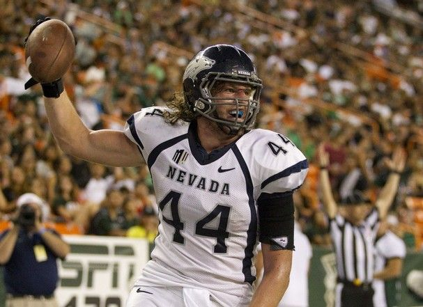 """Zach Sudfeld - TE - Nevada - UDFA: Big (6'7"""" 225lbs) guy was a walk on at Nevada. Very smart kid with decent athleticism and an innate pass catching ability. He is extremely injury prone having 6 surgeries in college. Interesting pass catcher who could provide depth if he makes the roster, most likely a practice squad option."""